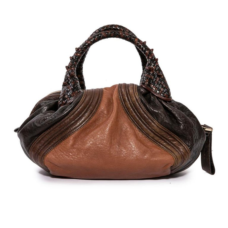 435d3b515d8c Fendi Mini Light and Dark Brown Leather Spy Bag In Good Condition For Sale  In Paris
