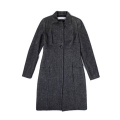Christian Dior by John Galliano Gray and Black Angora and Wool Soft Coat