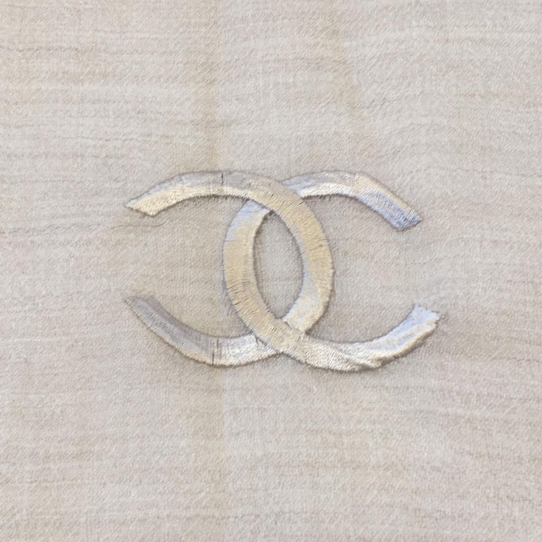 Women's Chanel Beige and Ecru Cashmere Shawl  For Sale