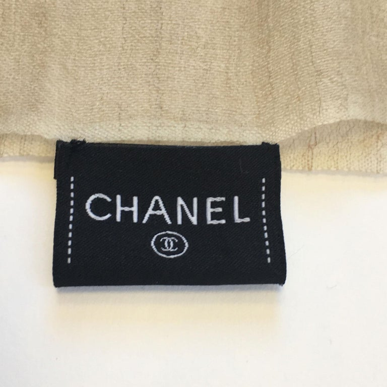 Chanel Beige and Ecru Cashmere Shawl  For Sale 4
