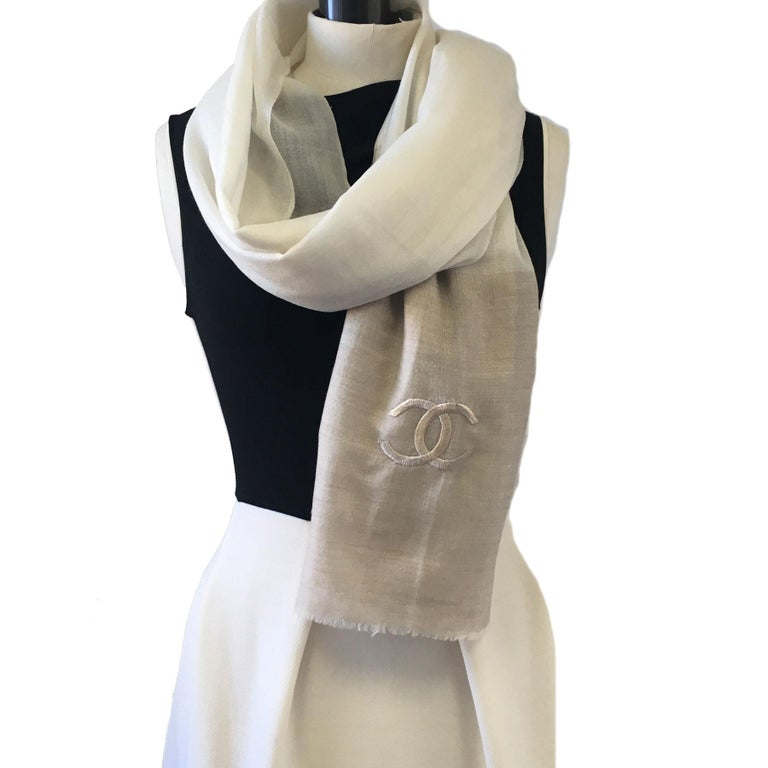 Chanel Beige and Ecru Cashmere Shawl  For Sale 2