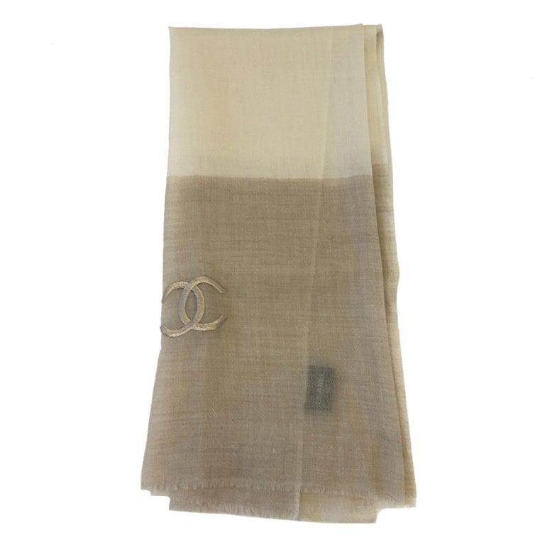Chanel Beige and Ecru Cashmere Shawl  For Sale 1