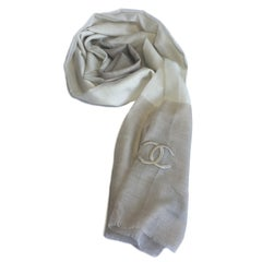 Chanel Beige and Ecru Cashmere Shawl