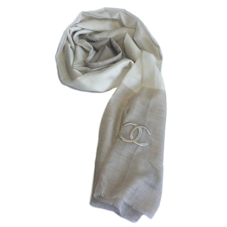 Chanel Beige and Ecru Cashmere Shawl  For Sale