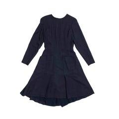 Chanel Navy Blue Fabric Wrap Dress