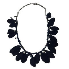 LANVIN Long Necklace in Metal, Black Silk Crepe, Pearls and Rhinestones