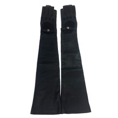 CHANEL Long Mittens in Black Lambskin Leather Size 7