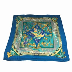 HERMES Shawl 'Tropiques' in Blue, Green Mauve and Yellow Cashmere and Silk