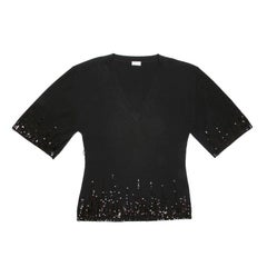 VALENTINO Pullover in Black Cashmere and Wool with Black Sequins size 44