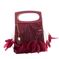 LALIQUE Evening Bag in Red Cardinal Satin Leather