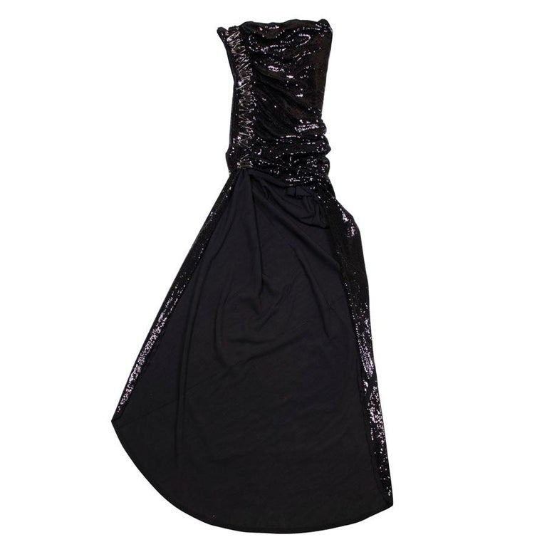 BALMAIN Cocktail Dress in Black Silk Embroidered with Black Sequins Size 38 For Sale