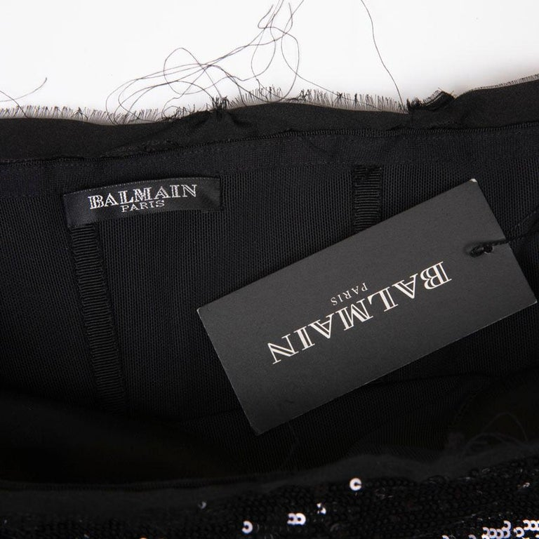 BALMAIN Cocktail Dress in Black Silk Embroidered with Black Sequins Size 38 For Sale 5