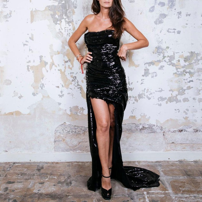 Women's BALMAIN Cocktail Dress in Black Silk Embroidered with Black Sequins Size 38 For Sale