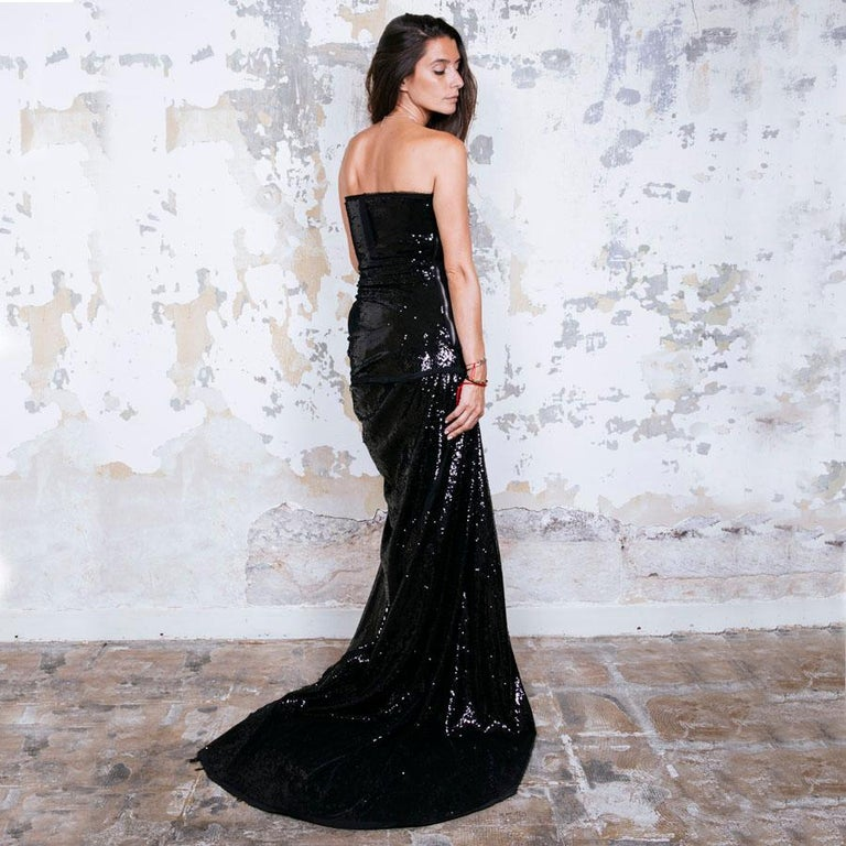 BALMAIN Cocktail Dress in Black Silk Embroidered with Black Sequins Size 38 For Sale 3