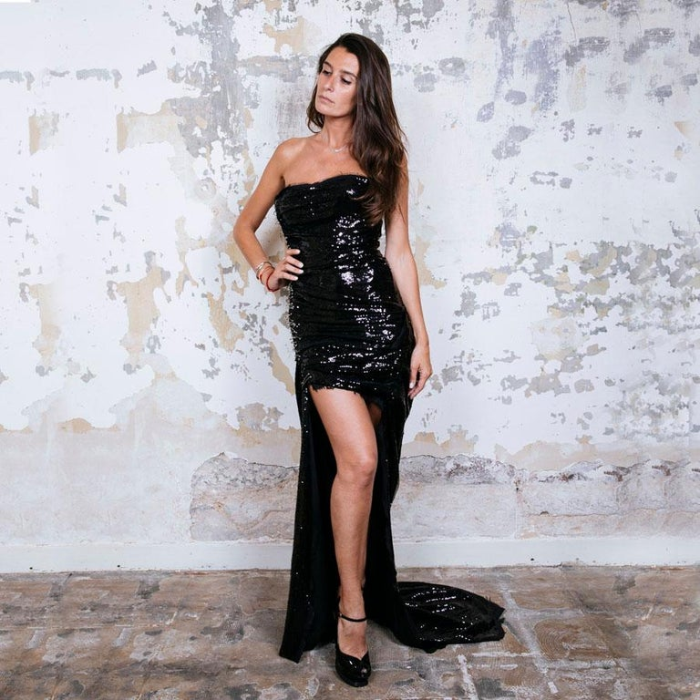 BALMAIN Cocktail Dress in Black Silk Embroidered with Black Sequins Size 38 For Sale 1