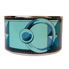 HERMES Extra Wide Bangle in Printed Enamel and Palladium Metal Hardware