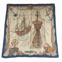 HERMES Collector 'Caravelle' Scarf in Beige, Gold and Brown Silk