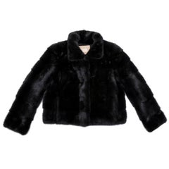 YVES SALOMON Midnight Blue Short Mink Jacket Size 42FR