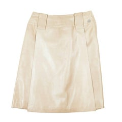 CHANEL Flare Skirt in Beige Leather Size 36FR