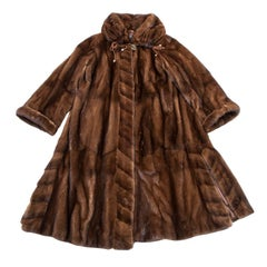 REBECCA Long Coat in Brown Mink Size 40FR