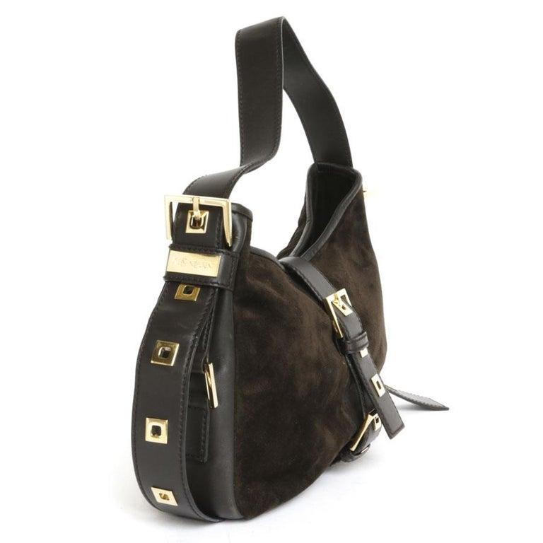38c668a3fd YVES SAINT LAURENT Shoulder Bag in Brown Velvet Calfskin In Good Condition  For Sale In Paris
