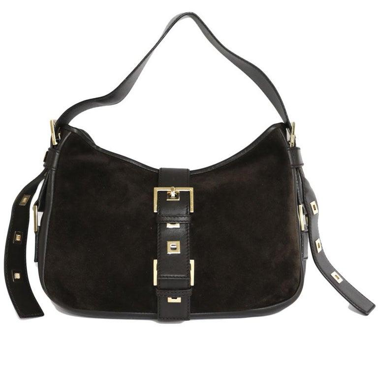 36f286da5e YVES SAINT LAURENT Shoulder Bag in Brown Velvet Calfskin For Sale at ...