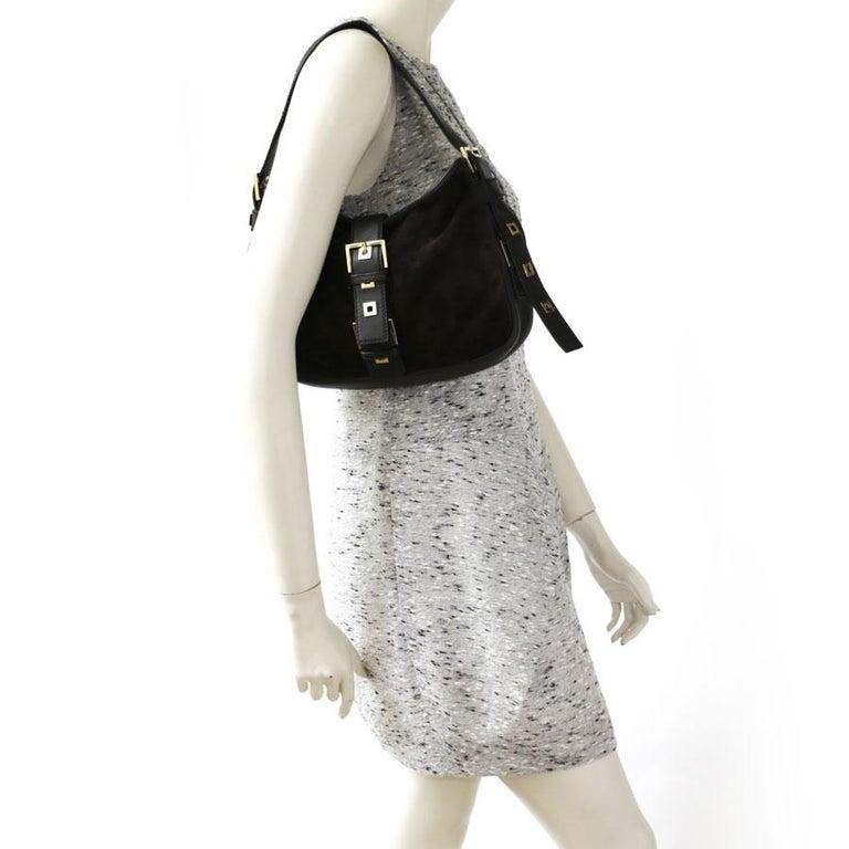 03ce54c12a YVES SAINT LAURENT shoulder bag in brown velvet calfskin. Gilt metal  hardware. The interior