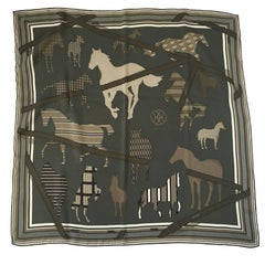 HERMES 'GRV2392' Scarf in Green, Khaki and Ivory Silk
