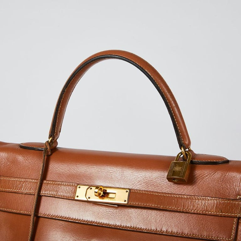 HERMES Vintage Kelly 35 Bag in Caramel Box Leather 3