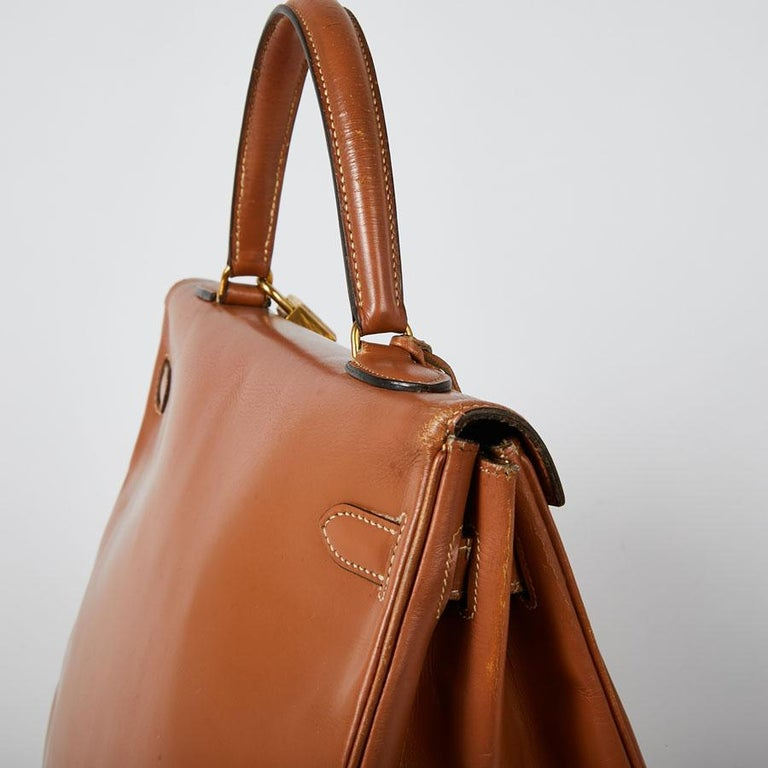 HERMES Vintage Kelly 35 Bag in Caramel Box Leather 4