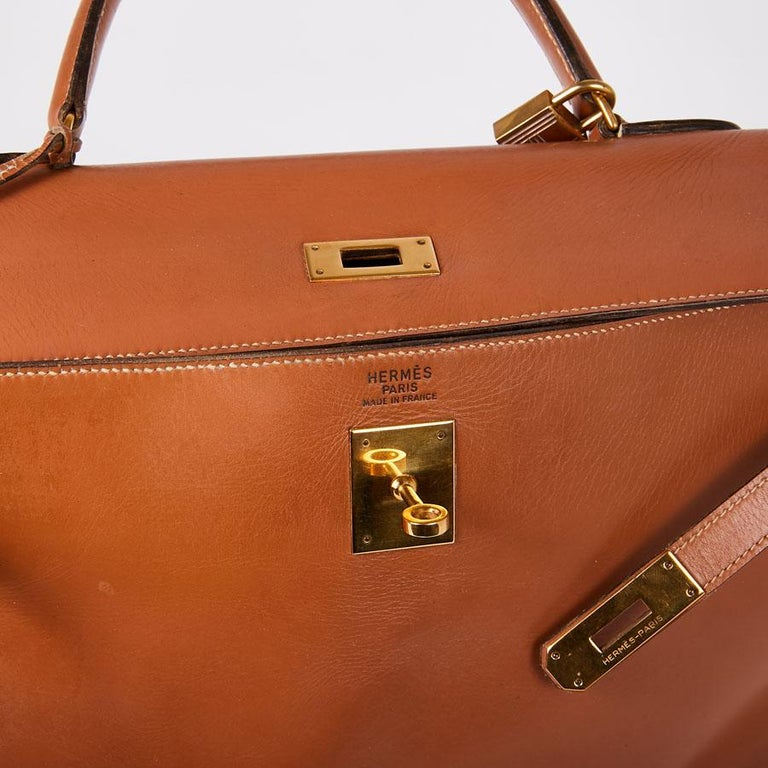 HERMES Vintage Kelly 35 Bag in Caramel Box Leather 6