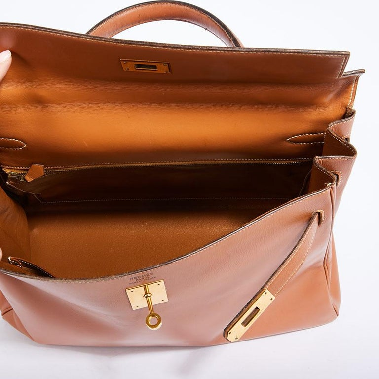 HERMES Vintage Kelly 35 Bag in Caramel Box Leather 7