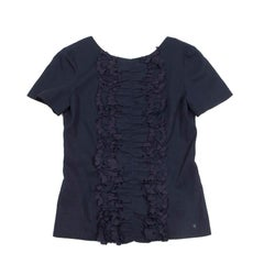 CHANEL Backless Blouse in Navy and Ink Color Cotton and Silk Size 38FR