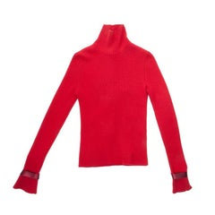 CHANEL Turtleneck Pullover in Red Cashmere Size 38FR