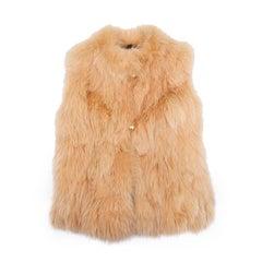 GA Sleeveless Vest in orange Yellow Fox Fur Unique Size