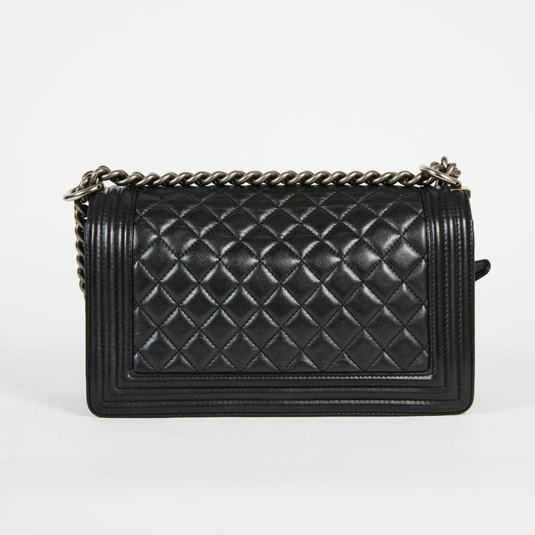 CHANEL Boy Bag in Black Quilted Lambskin For Sale 2