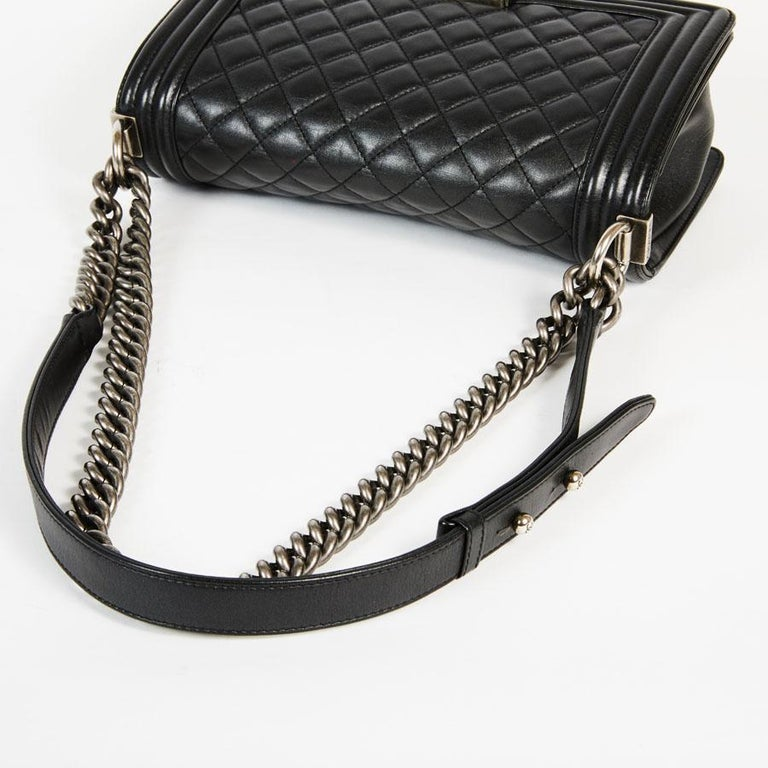 CHANEL Boy Bag in Black Quilted Lambskin For Sale 6
