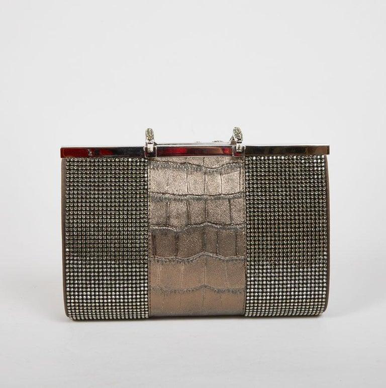 Women's DANIEL SWAROVSKI Evening Clutch in Crocodile and Crystal mesh For Sale