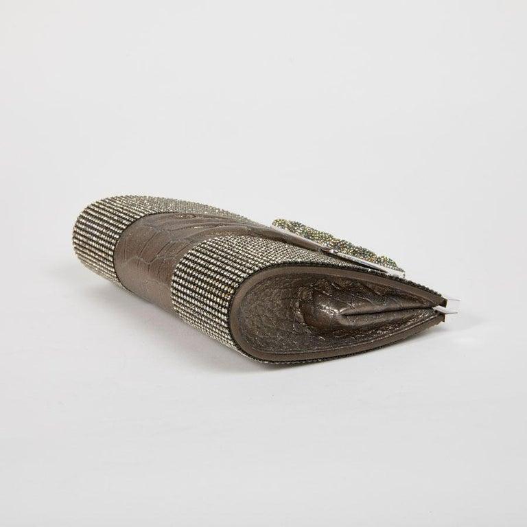 DANIEL SWAROVSKI Evening Clutch in Crocodile and Crystal mesh For Sale 3