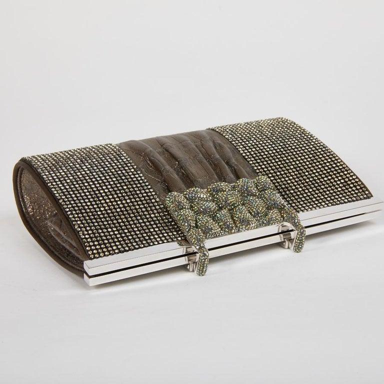 DANIEL SWAROVSKI Evening Clutch in Crocodile and Crystal mesh For Sale 4