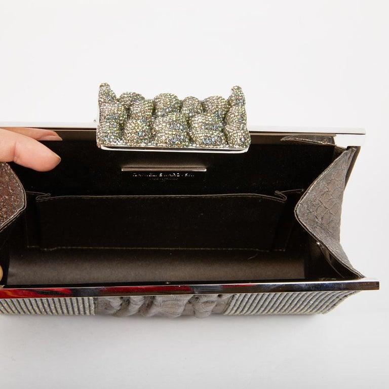 DANIEL SWAROVSKI Evening Clutch in Crocodile and Crystal mesh For Sale 6