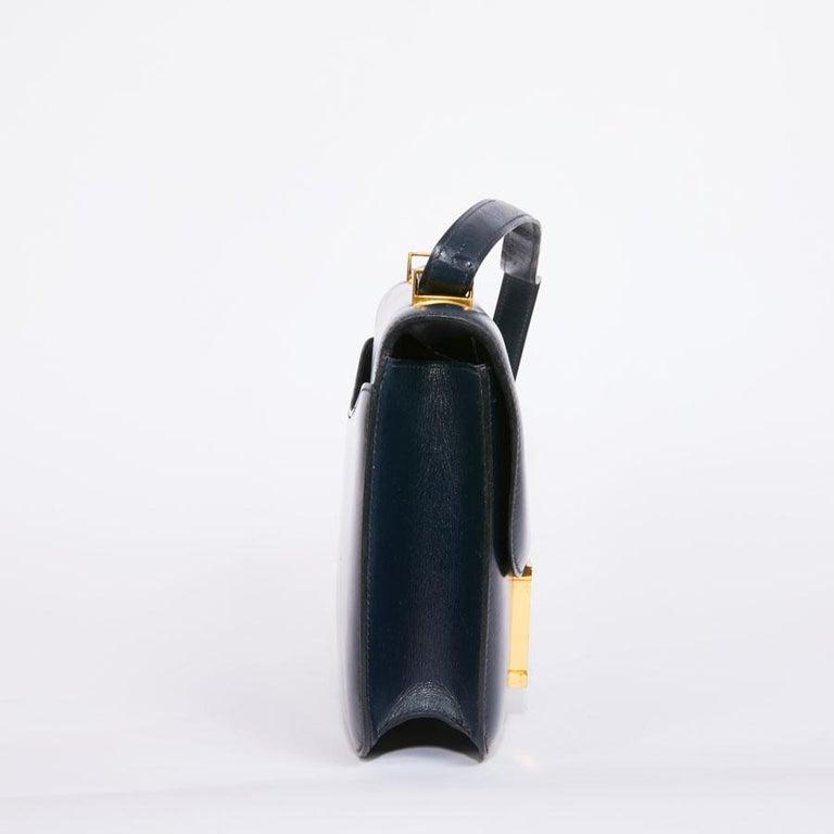 Black HERMES Vintage Constance Bag in Navy Blue Leather Box For Sale