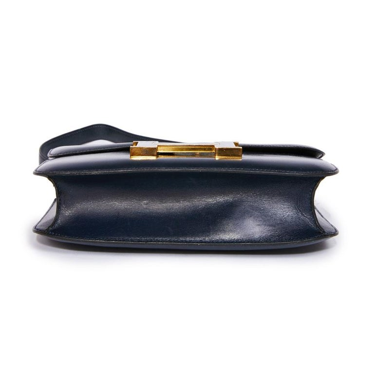 Women's HERMES Vintage Constance Bag in Navy Blue Leather Box For Sale