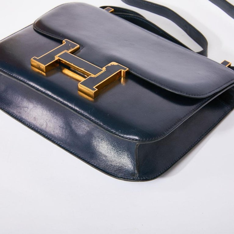 HERMES Vintage Constance Bag in Navy Blue Leather Box For Sale 1