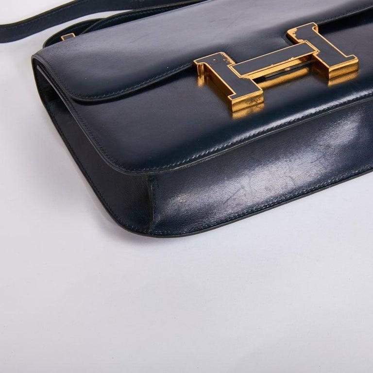 HERMES Vintage Constance Bag in Navy Blue Leather Box For Sale 2