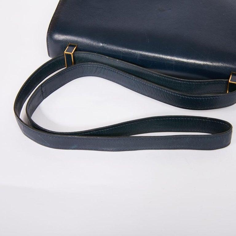 HERMES Vintage Constance Bag in Navy Blue Leather Box For Sale 3