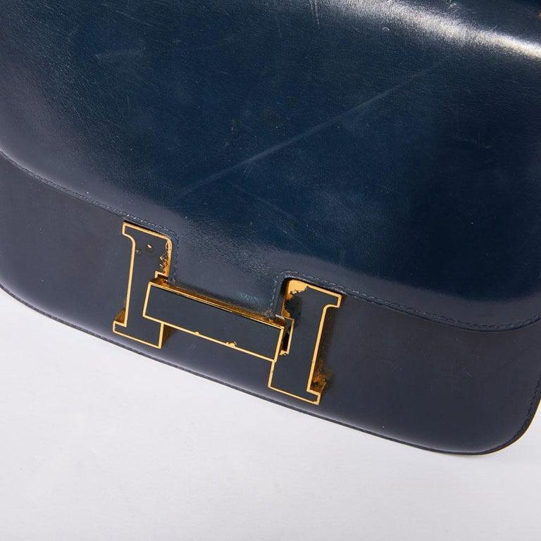 HERMES Vintage Constance Bag in Navy Blue Leather Box For Sale 4
