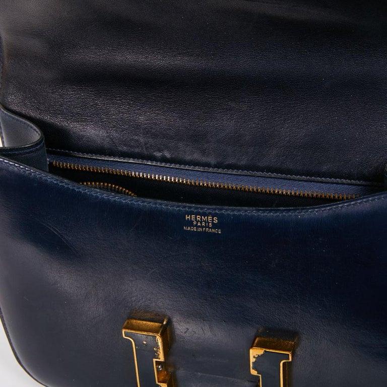 HERMES Vintage Constance Bag in Navy Blue Leather Box For Sale 5