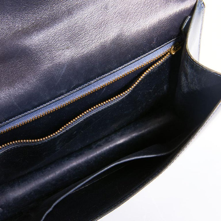HERMES Vintage Constance Bag in Navy Blue Leather Box For Sale 6