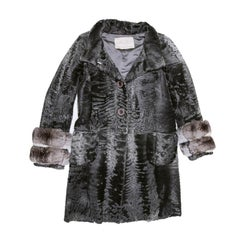 AGNES GERCAULT Coat in Gray Astrakhan and Chinchilla Size 40FR